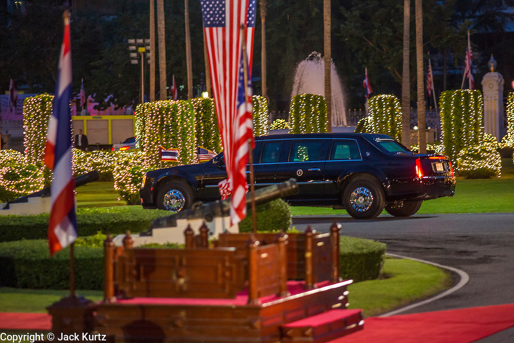 18 NOVEMBER 2012 - BANGKOK, THAILAND: President Barack Obama's limousine arrives at Government House in Bangkok Sunday. US President Barack Obama arrives for the start of his tour of Southeast Asia on November 18, 2012 in Bangkok, Thailand. Barack Obama will become the first US President to visit Myanmar during the four-day tour of Southeast Asia that will also include visits to Thailand and Cambodia.  PHOTO BY JACK KURTZ