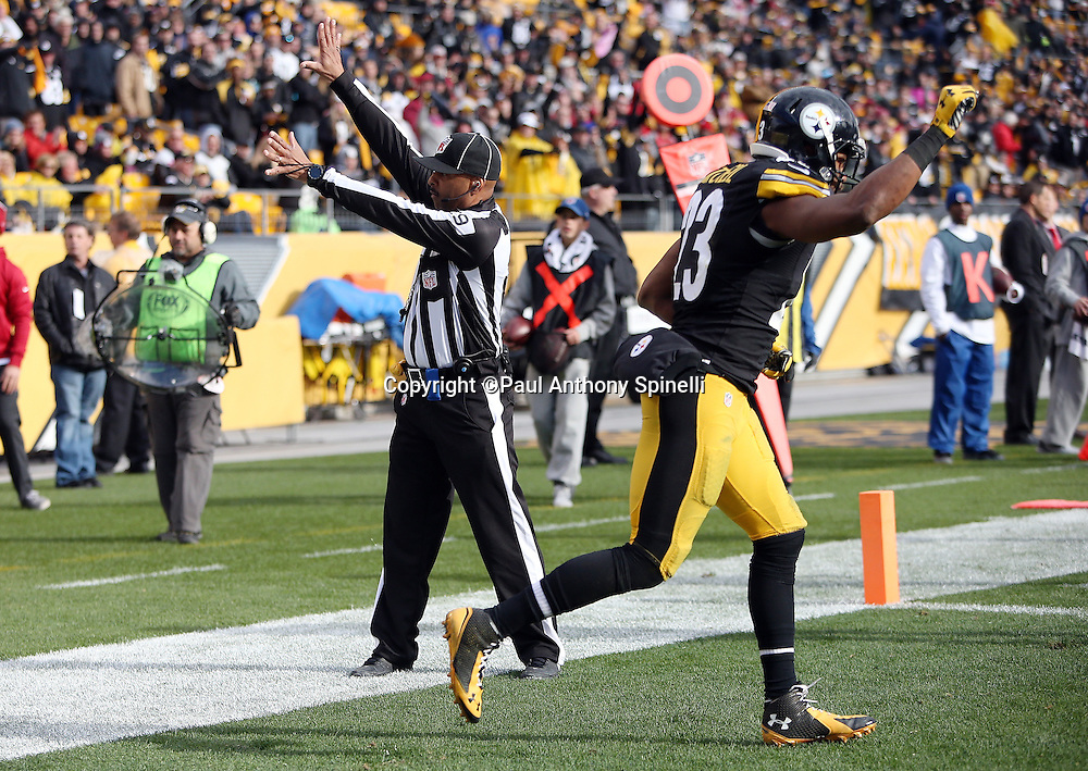 Pittsburgh Steelers free safety Mike Mitchell (23) starts to celebrate after a game winning play while field judge Adrian Hill (29) signals that an end zone catch by Arizona Cardinals wide receiver Jaron Brown (13) was caught out of bounds on a fourth down desperation play with the time clock ticking down near the end of the fourth quarter during the 2015 NFL week 6 regular season football game against the Arizona Cardinals on Sunday, Oct. 18, 2015 in Pittsburgh. The Steelers won the game 25-13. (©Paul Anthony Spinelli)