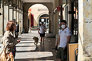 people walking in the street during the Covid 19 lockdown France Limoux 24 April 2020