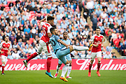 Manchester City forward Sergio Aguero (10), Arsenal midfielder Alex Oxlade-Chamberlain (15) during the The FA Cup semi final match between Arsenal and Manchester City at the Emirates Stadium, London, England on 23 April 2017. Photo by Sebastian Frej.