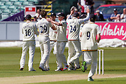 Paul Coughlin (Durham County Cricket Club) celebrates with his team mates after taking the wicket of Lewis Gregory (Somerset County Cricket Club) during the LV County Championship Div 1 match between Durham County Cricket Club and Somerset County Cricket Club at the Emirates Durham ICG Ground, Chester-le-Street, United Kingdom on 9 June 2015. Photo by George Ledger.