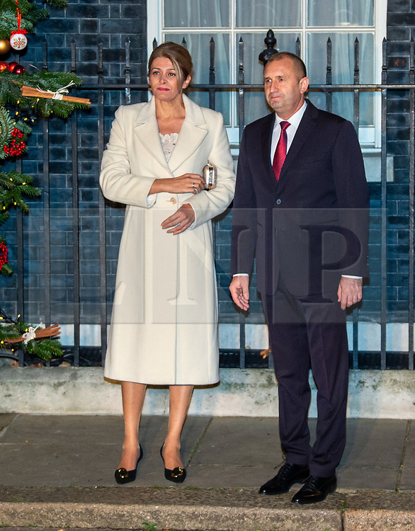 © Licensed to London News Pictures. 03/12/2019. London, UK. President of Bulgaria Rumen Radev and wife First Lady of Bulgaria Desislava Radeva arrive in Downing Street as NATO Leaders' gather for a reception hosted by United Kingdom Prime Minister Boris Johnson.<br /> Allied leaders are in London for a NATO summit. The summit also marks NATO's 70th anniversary.<br /> Photo credit: Peter Manning/LNP<br /> <br /> <br /> .