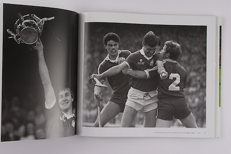 left: Tom Cashman shows the McCarthy Cup to the Cork supporters. His brother Jim was also on the team. Their father Mick had played in goal in the epic final between Cork and Wexford 30 years earlier in 1956. .right: Jimmy Barry Murphy tries to get through Galway's Sylvie Linnane and Gerry McInerney in the 1986 final.