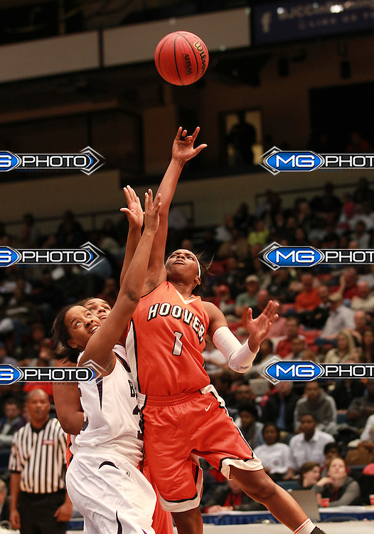 March 2, 2013; Birmingham, AL, USA; Hoover's Aaliyah Bell (1) shoots against Blount at the Alabama High School State Basketball Championships at the Birmingham Jefferson Civic Center. Mandatory Credit: Marvin Gentry