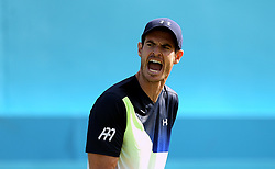 Great Britain's Andy Murray reacts during day two of the Fever-Tree Championship at the Queens Club, London.
