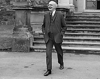 Phelim O'Neill, Minister of Education, MP, Ulster Unionist, leaving Stormont Castle, Belfast, N Ireland, after a cabinet meeting, April 1969. 2nd, Baron Rathcavan, Lord Rathcavan, 196904000160<br /> <br /> Copyright Image from Victor Patterson, 54 Dorchester Park, Belfast, UK, BT9 6RJ<br /> <br /> t1: +44 28 9066 1296 (from Rep of Ireland 048 9066 1296)<br /> t2: +44 28 9002 2446 (from Rep of Ireland 048 9002 2446)<br /> m: +44 7802 353836<br /> <br /> victorpattersonbelfast@gmail.com<br /> victorpatterson@me.com<br /> <br /> www.victorpatterson.com<br /> <br /> Please see my Terms and Conditions of Use at victorpatterson.com. It is IMPORTANT that you familiarise yourself with them.<br /> <br /> Images used on the Internet incur an additional cost and must be visibly watermarked i.e. ©Victor Patterson within the body of the image and copyright metadata must not be deleted. Images used on the Internet have a size restriction of 4kbs and are chargeable at rates available at victorpatterson.com.<br /> <br /> This image is available only for the use of the download recipient i.e. television station, newspaper, magazine, book publisher, etc, and must not be passed on to any third party. It is also downloaded on condition that each and every usage is notified within 7 days to victorpatterson@me.com<br /> <br /> The right of Victor Patterson (or the named photographer) to be identified as the author is asserted in accordance with The Copyright Designs And Patents Act (1988). All moral rights are asserted.