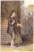 Poor boy, shoeless and in rags, begging on a street corner. Chromolithograph London c1880