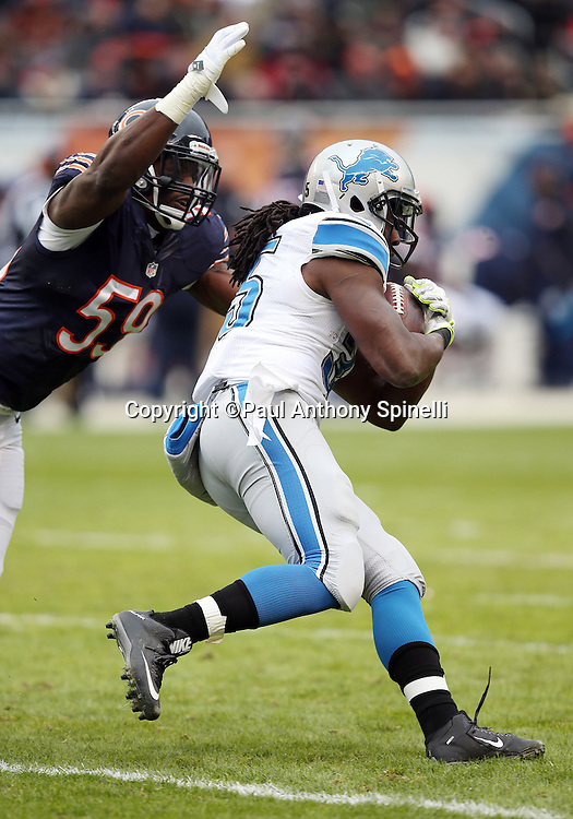 Detroit Lions running back Joique Bell (35) runs for a gain of 13 yards on a second quarter pass reception while being chased by Chicago Bears inside linebacker Christian Jones (59) during the NFL week 17 regular season football game against the Chicago Bears on Sunday, Jan. 3, 2016 in Chicago. The Lions won the game 24-20. (©Paul Anthony Spinelli)