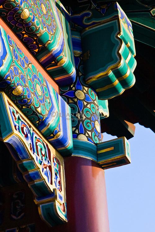 Closup view of pagoda detail in Jingshan Park, Beijing.