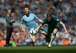 Bernardo Silva of Manchester City (L) and Ben Davies of Tottenham Hotspur in action - Mandatory by-line: Jack Phillips/JMP - 20/04/2019 - FOOTBALL - Etihad Stadium - Manchester, England - Manchester City v Tottenham Hotspur - English Premier League