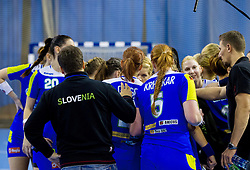Team Slovenia during handball match between Women National teams of Slovenia and Serbia in 2nd Round of Qualifications for 2014 EHF European Championship on October 27, 2013 in Hala Tivoli, Ljubljana, Slovenia. Slovenia defeated Serbia 31-26. (Photo by Vid Ponikvar / Sportida)