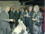 24/08/1984<br /> 08/24/1984<br /> 24 August 1984<br /> Opening of ROSC '84 at the Guinness Store House, Dublin.At the exhibition were (l-r) Mr Pat Murphy ROSC Chairman; Lord Iveagh; President Patrick Hillery; Minister of State for Arts and Culture Ted Nealon; Brian Slowey, Managing Director, Guinness,Ireland; and Mrs Maeve Hillery on the far right.