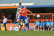Forest Green Rovers Christian Doige (9) beats Braintree Town's Jack Cowgill to a header during the Vanarama National League match between Braintree Town and Forest Green Rovers at the Amlin Stadium, Braintree, United Kingdom on 24 September 2016. Photo by Shane Healey.