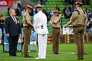 MELBOURNE, VIC - NOVEMBER 09: Army members prior to the match at the Hyundai A-League Round 4 soccer match between Melbourne City FC and Wellington Phoenix on November 09, 2018 at AAMI Park in Melbourne, Australia. (Photo by Speed Media/Icon Sportswire)