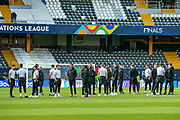 England players during the England walk around the pitch ahead of the Nations League Semi-Final against Holland at Estadio D. Afonso Henriques, Guimaraes, Portugal on 5 June 2019.