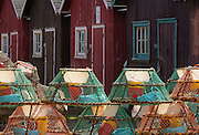 Crab traps and fishermen's sheds in seaside village of Victoria By The Sea, Prince Edward Island, Canada.