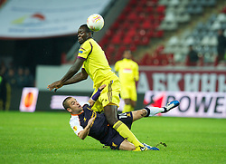 MOSCOW, RUSSIA - Thursday, November 8, 2012: Liverpool's Joe Cole in action against FC Anji Makhachkala's Christopher Samba during the UEFA Europa League Group A match at the Lokomotiv Stadium. (Pic by David Rawcliffe/Propaganda)