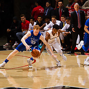 03 February 2018: The San Diego State Aztecs look to rebound after a couple losses against Air Force Saturday night. San Diego State Aztecs guard Devin Watson (0) steals the ball away from Air Force Falcons center Frank Toohey (33) in the first half. The Aztecs lead the Falcons 35-21 at half time at Viejas Arena.<br /> More game action at www.sdsuaztecphotos.com