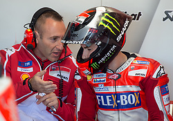 October 20, 2017 - Melbourne, Victoria, Australia - Spanish rider Jorge Lorenzo (#99) of Ducati Team in his garage with his team during the firsts free practice session of the MotoGP class at the 2017 Australian MotoGP at Phillip Island, Australia. (Credit Image: © Theo Karanikos via ZUMA Wire)