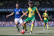 Ivo Pinto (Norwich City) controls the ball during the Barclays Premier League match between Everton and Norwich City at Goodison Park, Liverpool, England on 15 May 2016. Photo by Mark P Doherty.