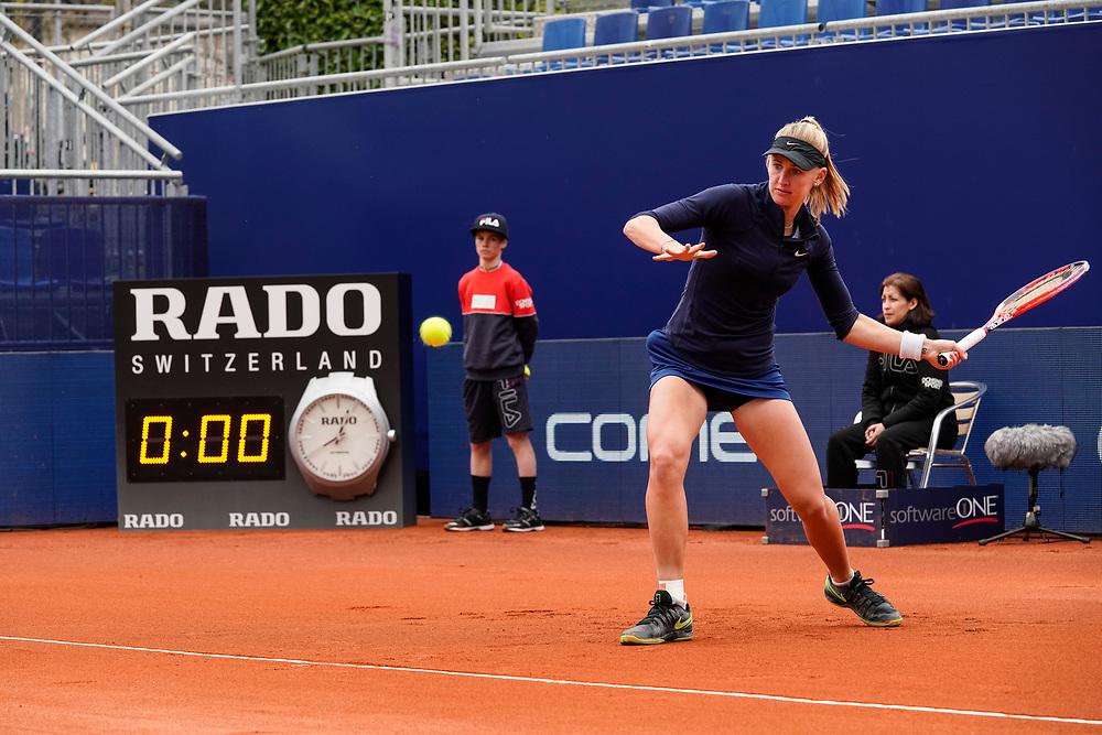Jil Belen Teichmann joue contre Alize Cornet &agrave; Luganon le 11 avril.<br /> Lugano, avril 2018<br /> &copy; Nicolas Righetti /Lundi13.ch