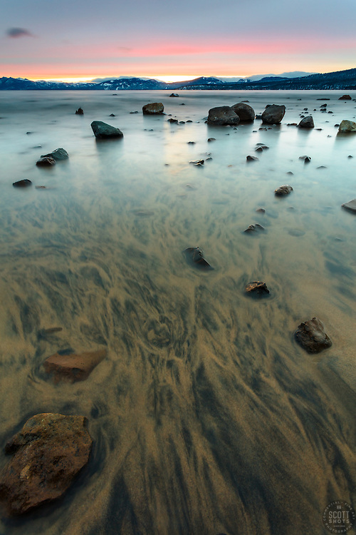 """Sunset at Lake Tahoe 39"" - Photograph of a sandy shoreline and rocks at sunset at Kings Beach, Lake Tahoe."