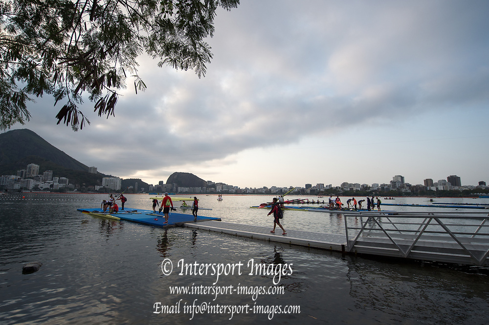 Rio de Janeiro. BRAZIL    Boating  General view of the boat park.and across the course.  2016 Olympic Rowing Regatta. Lagoa Stadium,<br /> Copacabana,  &ldquo;Olympic Summer Games&rdquo;<br /> Rodrigo de Freitas Lagoon, Lagoa. Local Time 07:19:22  Tuesday  09/08/2016<br /> [Mandatory Credit; Peter SPURRIER/Intersport Images]