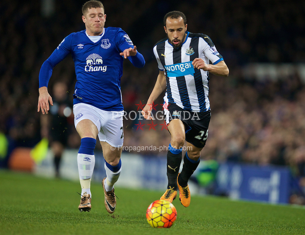 LIVERPOOL, ENGLAND - Wednesday, February 3, 2016: Newcastle United's Andros Townsend and Everton's Ross Barkley during the Premier League match at Goodison Park. (Pic by David Rawcliffe/Propaganda)