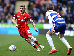 Cardiff City's Joe Ralls takes on Reading's Chris Gunter - Photo mandatory by-line: Robbie Stephenson/JMP - Mobile: 07966 386802 - 04/04/2015 - SPORT - Football - Reading - Madejski Stadium - Reading v Cardiff City - Sky Bet Championship