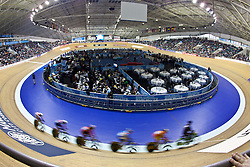 © Licensed to London News Pictures. 20/02/2011. The first round of the Women's Keirin at the UCI Track Cycling World Cup in Manchester today (20/02/2011). Photo credit should read: Reuben Tabner/LNP