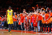 CHAMPAIGN, IL - JANUARY 27: Illinois Fighting Illini fans in the Orange Krush section taunt Tim Hardaway Jr. #10 of the Michigan Wolverines during the game at Assembly Hall on January 27, 2013 in Champaign, Illinois. Michigan defeated Illinois 74-60. (Photo by Joe Robbins) *** Local Caption *** Tim Hardaway Jr.