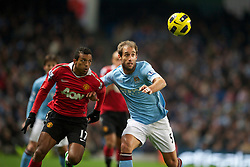 MANCHESTER, ENGLAND - Wednesday, November 10, 2010: Manchester City's Pablo Zabaleta and Manchester United's Nani during the Premiership match at the City of Manchester Stadium. (Pic by: Chris Brunskill/Propaganda)
