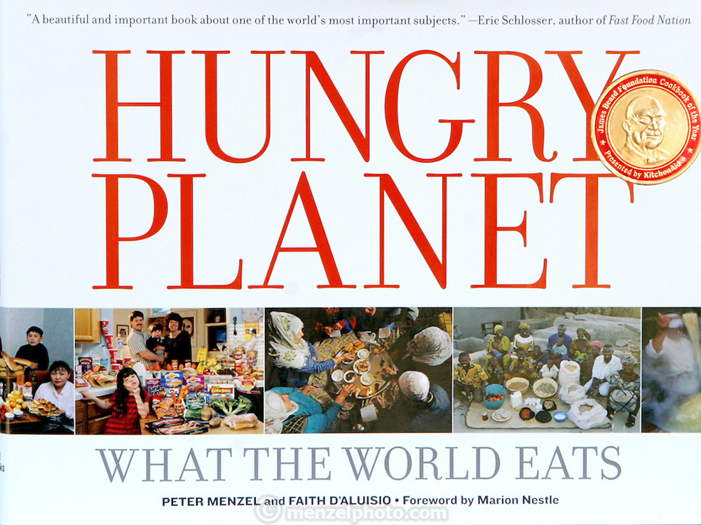 Hungry Planet cover photograph with James Beard Award sticker. Hungry Planet: What the World Eats, has received the best Cookbook of the Year Award, 2006, from the James Beard foundation as well as winning the Harry Chapin Media Award. 07/24/2006.HP_2.jpg
