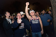 Men dressed in support of Donald Trump celebrate the election results  in front of the White House in Washington early on the morning of Nov. 9, 2016. After a long and bitter campaign, President-Elect Donald J. Trump, republican nominee, was elected to be the 45th president.