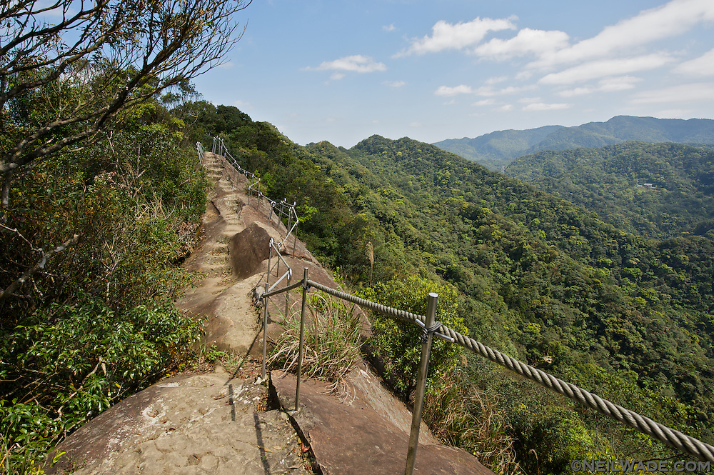 Stunning views and deadly drops on a remote hiking trail near Taipei, Taiwan.