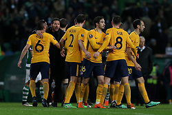 April 12, 2018 - Lisbon, Portugal - Atletico Madrids head coach Diego Simeone of Argentina celebrates with his players after the UEFA Europa League second leg football match Sporting CP vs Atletico Madrid at Alvalade stadium in Lisbon, on April 12, 2018. (Credit Image: © Pedro Fiuza/NurPhoto via ZUMA Press)