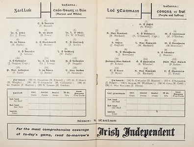 All Ireland Senior Hurling Championship Final,.Programme,.04.09.1955, 09.04.1955, 4th September 1955,.Galway 2-8, Wexford 3-13,.Minor Galway v Tipperary, .Senior Galway v Wexford,.Croke Park,..Galway Senior Team, T Boland, Goalkeeper, Lt J Fives, Right corner-back, B Power, Full-back, Lt W O'Neill, Left corner-back, M Burke, Right half-back, J Molloy, Centre half-back, T Kelly, Left half-back, J Salmon, Midfielder, W Duffy, Midfielder,  J Duggan, Captain, Right half-forward, Lt J Young, Centre half-forward, P Duggan, Left half-forward, P Egan, Right corner-forward, J Burke, Centre forward, T Sweeney, Left corner-foward, Substitutes, M Elwood, M Murphy, M Cullinane, P Manton, H Gordon,..Wexford Senior Team, A Foley, Goalkeeper, R Rackard, Right corner-back, N O'Donnell, Captain, Full-back, M O'Hanlon, Left corner-back, J English, Right half-back, W Rackard, Centre half-back, M Morrissey, Left half-back, J Morrissey, Midfielder, J Hearne, Midfielder, P Kehoe, Right half-forward, E Wheeler, Centre half-forward, P Kehoe, Left half-forward, T Ryan, Right corner-forward, N Rackard, Centre forward, T Flood, Left corner-forward, Substitutes, D Hearne, T Bolger, W Wickham, M Codd, T Dixon,..Advertisements, Irish Independent,