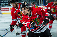KELOWNA, CANADA - APRIL 8: Colton Veloso #39 of the Portland Winterhawks warms up with a shot on net against the Kelowna Rockets on April 8, 2017 at Prospera Place in Kelowna, British Columbia, Canada.  (Photo by Marissa Baecker/Shoot the Breeze)  *** Local Caption ***