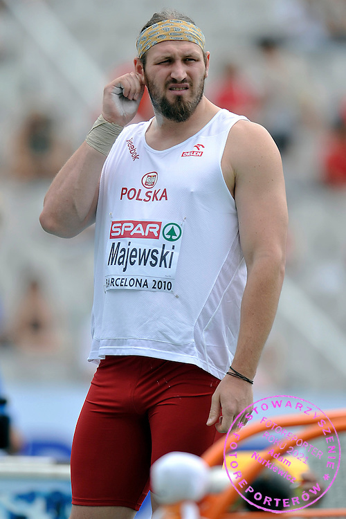 TOMASZ MAJEWSKI (POLAND) PREPARES TO THE START IN THE MEN'S SHOT PUT QUALIFICATION DURING THE 2010 EUROPEAN ATHLETICS CHAMPIONSHIPS AT OLYMPIC STADIUM IN BARCELONA, SPAIN...SPAIN , BARCELONA , JULY 30, 2010..( PHOTO BY ADAM NURKIEWICZ / MEDIASPORT )..PICTURE ALSO AVAIBLE IN RAW OR TIFF FORMAT ON SPECIAL REQUEST.