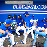 DUNEDIN, FL - March 27, 2015 -- Toronto Blue Jays right fielder José Bautista and short stop José Reyes share a laugh in a Spring Training game against the Detroit Tigers in Dunedin, Florida.  (PHOTO / CHIP LITHERLAND)