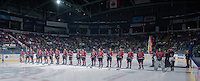 KELOWNA, CANADA - SEPTEMBER 20: The Kelowna Rockets line up on the blue line at the start of their regular season against the Kamloops Blazers on September 20, 2014 at Prospera Place in Kelowna, British Columbia, Canada.   (Photo by Marissa Baecker/Shoot the Breeze)  *** Local Caption ***