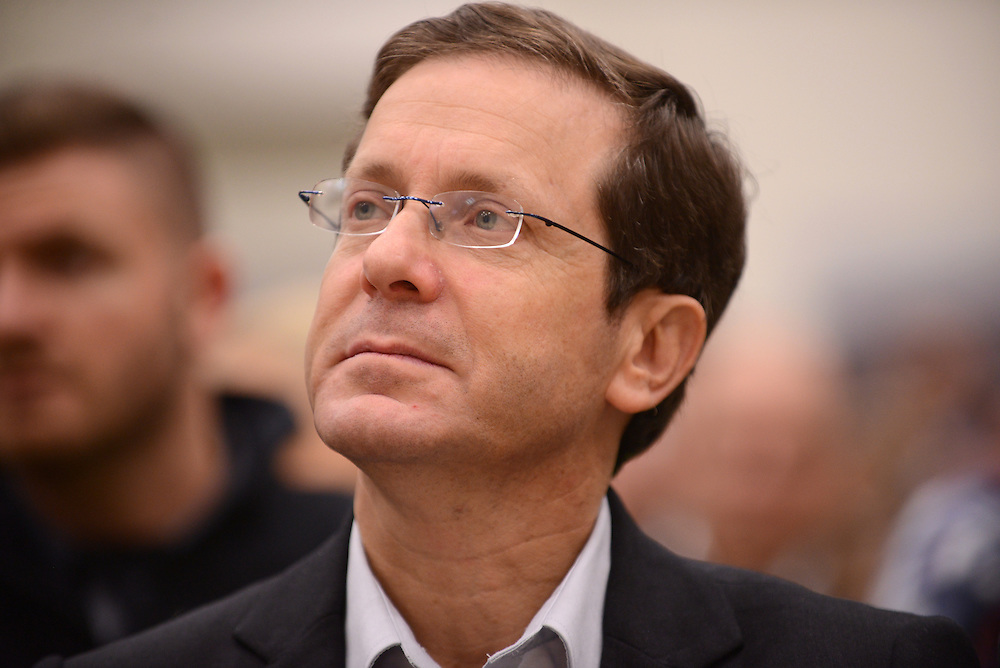"Isaac Herzog, leader of Hamahane Hatzioni Party, attends an elections campaign meeting on January 18, 2015, in Kfar Haim.  ""Hamahane haTzioni"" is the combined name of Herzog's Labor party and Tzipi Livni's 'Hatnuah"" party. Photo by Gili Yaari"