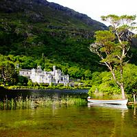 Galway, Ireland, Kylemore abbey, lake, sun, boat, summer, green
