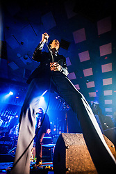 A wide angle shot of the frontman Nick Cave, of Nick Cave and the Bad Seeds, on stage tonight at The Barrowlands, Glasgow, Scotland.<br /> &copy;Michael Schofield.