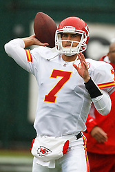 November 7, 2010; Oakland, CA, USA;  Kansas City Chiefs quarterback Matt Cassel (7) warms up before the game against the Oakland Raiders at Oakland-Alameda County Coliseum.