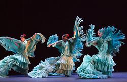 "© Licensed to London News Pictures. 21/03/2013. London, England. Ballet Flamenco de Andalucía perform ""Metáfora"" during the Flamenco Festival London 2013 at Sadler's Wells Theatre. Female Dancers: Fara Vázquez, Ana Agraz, Arta Arias, Maise Márquez and Sara Arévalo. Solo dancer: Patricia Guerrero. Photo credit: Bettina Strenske/LNP"