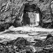 Golden Door Crashing Wave - Pfeiffer State Beach - Big Sur, CA - HDR - Black & White