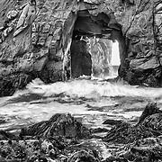 Golden Door Crashing Wave - Pfeiffer State Beach - Big Sur, CA - HDR - Black & White