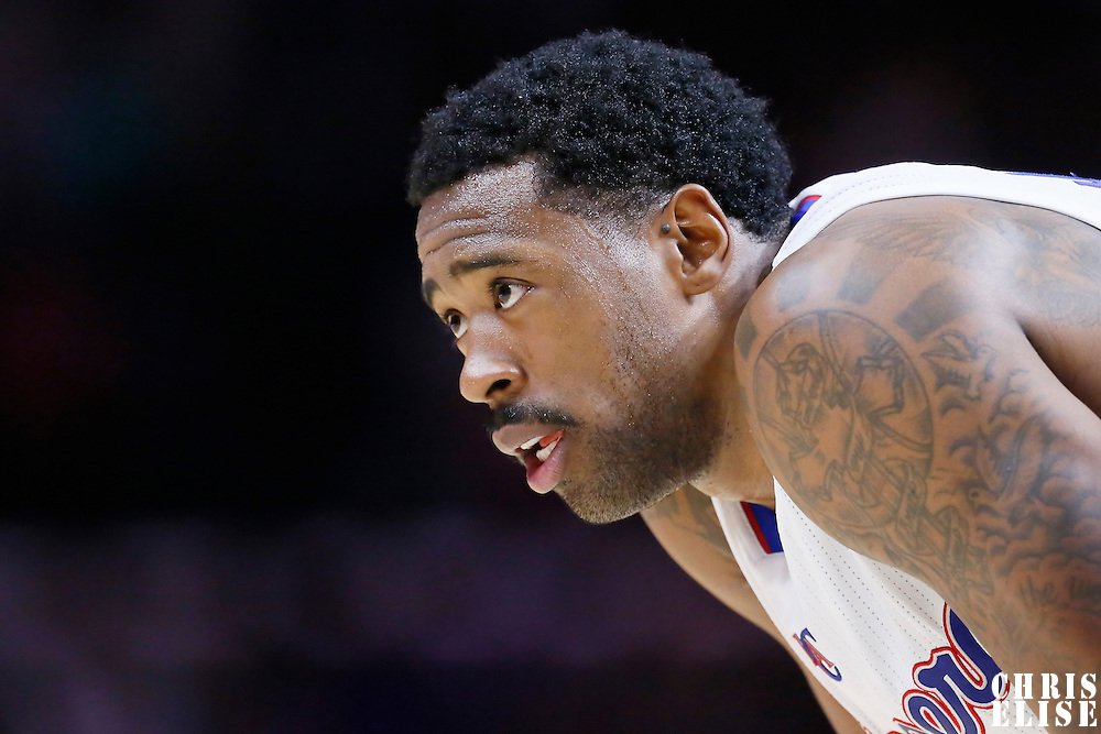 10 November 2014: Los Angeles Clippers center DeAndre Jordan (6) rests during the San Antonio Spurs 89-85 victory over the Los Angeles Clippers, at the Staples Center, Los Angeles, California, USA.