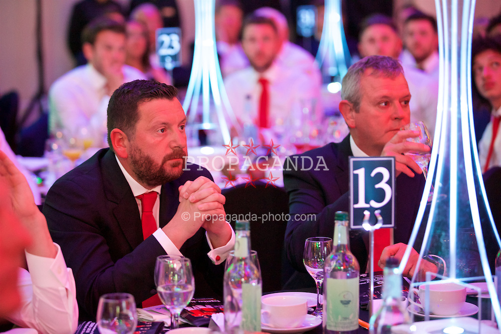 CARDIFF, WALES - Wednesday, June 1, 2016: Wales' equipment manager David Griffiths and Kevin McCusker during a charity send-off gala dinner at the Vale Resort Hotel ahead of the UEFA Euro 2016. (Pic by David Rawcliffe/Propaganda)